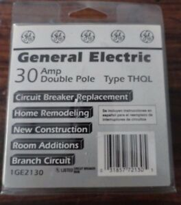 General Electric 30 Amp Double Pole Circuit Breaker Type Thql 1ge2130