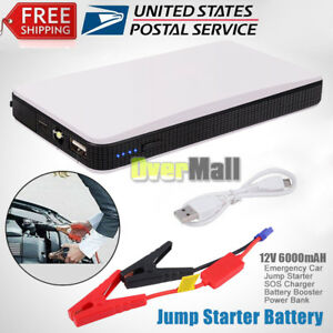 10000mah Portable Auto Car Jump Starter Battery Charger Power Bank Booster White