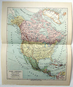 Original 1924 German Map Of North America By Meyers
