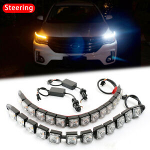12 Led Sequential Car Drl Daytime Running Driving Lamp With Turn Signal Light