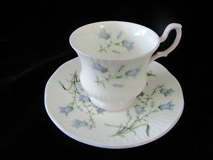 Vintage Queen S Rosina England Teacup Saucer White W Bluebell Flowers