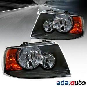 For 2003 2006 Ford Expedition Factory Style Black Headlights Replacement Lamps