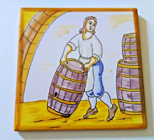 Vintage Hand Painted Spain Ceramic Primitive Tile Folk Art Woman Loading Barrels