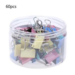60pcs Metal Binder Clips File Paper Clip Photo Stationary Office Supplies 15mm
