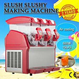 3 X 15l Slushy Machine Slush Making Machine 45l Frozen Drink Machine 600w Edy