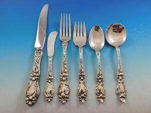 Lily By Frank Whiting Sterling Silver Flatware Service For 6 Set 36 Pcs Floral