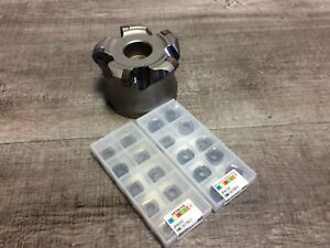 New Hitachi 4 Indexable Face Mill W 1 1 2 Arbor Hole Inserts