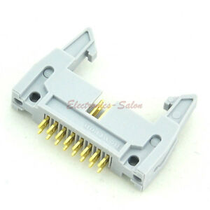 50pcs Flat Cable Idc 16 Pin Header Connector Vertical With Ejection Latch