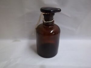 Vintage Amber Glass Apothecary Pharmacy Bottle With Stopper Tcw Co 4