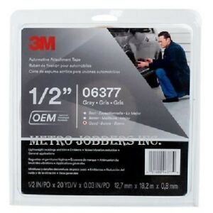 3m 06377 Double Sided Automotive 1 2 Inch X 60 Foot Grey Tape 6377