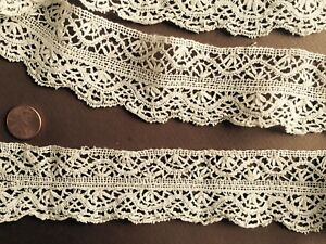 Handmade Vintage Beds Cluny Bobbin Lace Edging Sew Craft Costume