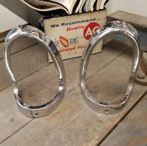 1955 Chevrolet 150 210 Bel Air Nomad Taillight Surround Trim Bezels 5945612 Pair
