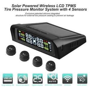 Car Solar Wireless Tpms Tyre Tire Pressure Monitoring System 4 External Sensors