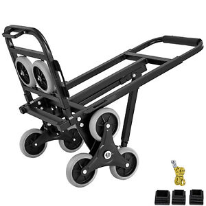 New Portable Stair Climbing Folding Cart Climb Hand Truck Dolly W Backup Wheels