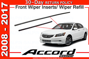 New Genuine Honda Accord Front Wiper Inserts Wiper Refill Set 2008 2017 4dr