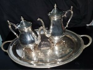 Vintage Antique Silver Plate Tea Coffee Serving Set W Tray 4 Piece Set Wm Rogers