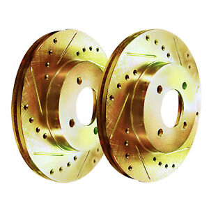 Front Gold Hart Drill Slot Brake Rotors Ford Mustang 1994 1998 Excluding Cobra