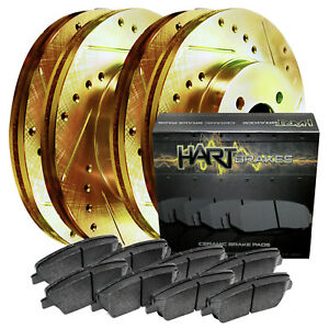 Fit 2004 2005 Mazda 3 Front Rear Sport Gold Drill Slot Brake Rotors Ceramic Pads