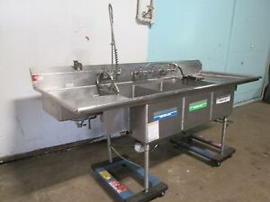 american Delphi Commercial 3 Compartment Sink W sprayer Wand Chem Dispenser