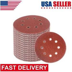120Pcs 5''40-240 Grit Hook Loop Pads Sanding Disc Orbital Sandpaper Sheet Sander