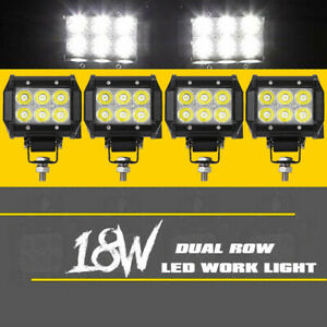 Work Cube Dual Row Led Light Bar Flood Driving Offroad Pods 4 Inch 72w Cree X4