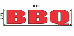 Bbq Banner Sign 2x8 For Business Shop Building Store Front
