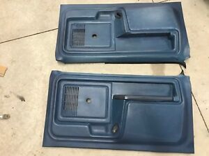 80 86 1980 1986 Ford Truck Bronco Door Panels Bright Blue Manual Windows