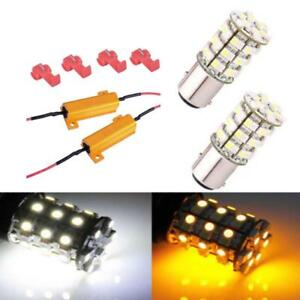 2x 1157 60smd Bright Dual Color Switchback White Turn Signal Amber Yelloe Light