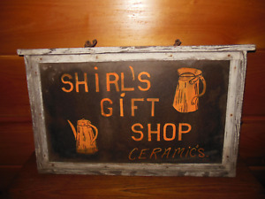 Vintage Shirl S Gift Shop Wooden Sign