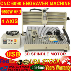 1500w 4 Axis 6090 Cnc Router Engraver Machine For Wood Acrylic Ball Screw Usb