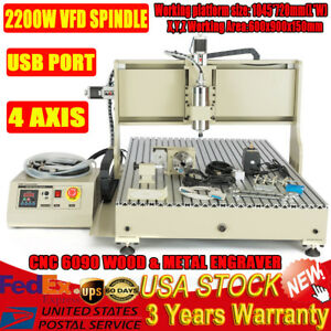 Usb Cnc Router 6090 4 Axis Engraver Machine 3d Cutting Engraving Milling 2200w