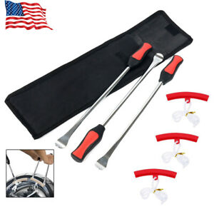 Tire Spoon Lever Iron Tool Set Fit Motorcycle Bike With 3pcs Wheel Rim Protector