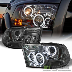 Smoke 2009 2018 Dodge Ram Ccfl Halo Projector Headlights W led Drl Running Lamps
