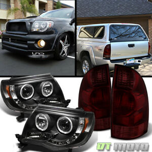 For 2005 2008 Toyota Tacoma Led Halo Black Projector Headlights Tail Brake Lamps