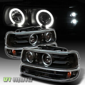 Black 99 02 Silverado 00 Suburban Tahoe Halo Projector Headlights bumper Light