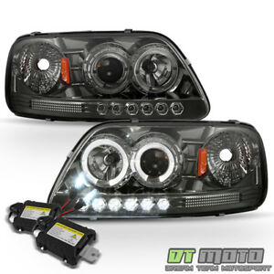 6000k Xenon Hid Smoked 97 03 Ford F150 Expedition Led Halo Projector Headlights