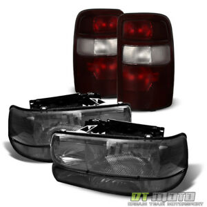 00 06 Chevy Suburban Tahoe Smoked Headlights Bumper Light Tail Lamps 2000 2006