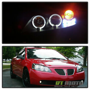Blk 2005 2010 Pontiac G6 Led Halo Projector Headlights Lamps Left Right 05 10