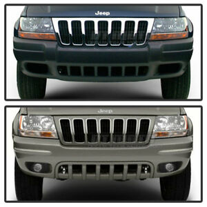 1999 2004 Jeep Grand Cherokee White Full Led Bumper Fog Lights Driving Lamps Set