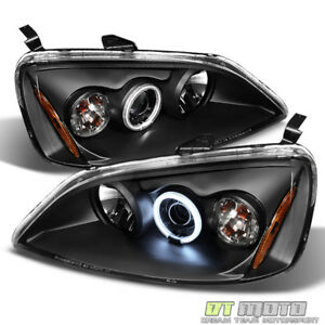 For Black 2001 2003 Honda Civic 2 4dr Led Ccfl Projector Headlights Left Right