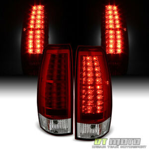 2007 2013 Chevy Avalanche 1500 2500 Red Clear Lumileds Led Tail Lights Lamps Set