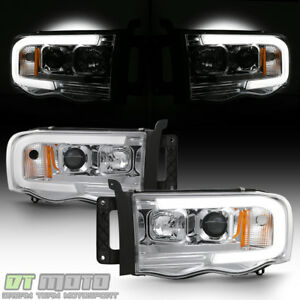 2002 2005 Dodge Ram 1500 03 05 2500 3500 Led Tube Projector Headlights Headlamps
