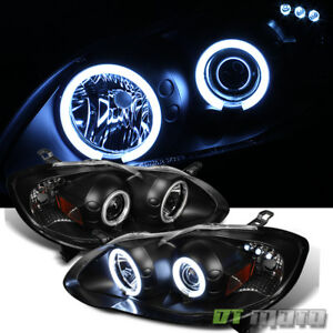 For Blk 2003 2008 Toyota Corolla Led Ccfl Halo Projector Headlights Left right