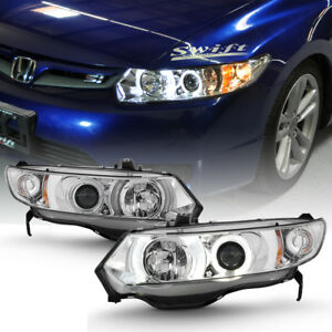 For 2006 2011 Honda Civic 2dr Led Halo Projector Headlights Headlamps Left right