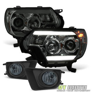 For Smoked 2012 2015 Toyota Tacoma Led Drl Projector Headlights Fog Lamps Switch