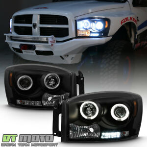 Black Smoke 2006 2008 Dodge Ram 1500 2500 Pickup Led Ccfl Projector Headlights