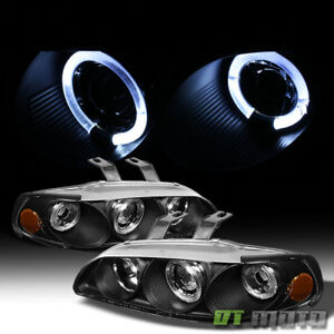 For Black 1992 1995 Honda Civic 2 3dr Led Halo Projector Headlights Left right