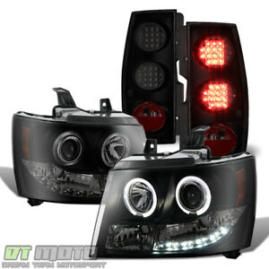 Black Smoke 2007 2014 Chevy Suburban tahoe Halo Headlights led Tail Lights Lamps