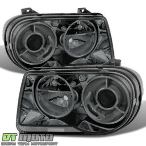 Smoked 2005 2010 Chrysler 300c Projector Headlights Headlamps 05 10 Left Right