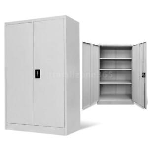 Metal Office Storage Cabinet Files Shelves 2 Wing Doors Steel Gray Modern O5s1